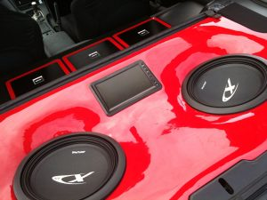 "Nissan 300ZX Stereo, Custom Boot Installation - Red Fibreglass Gloss Finish with 12"" Type-X Subwoofers and 8"" LCD Display"