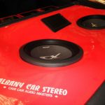 "Nissan 300ZX Custom Boot Installation - Red Fibreglass Gloss Finish with 12"" Type-X Subwoofers and 8"" LCD Display"