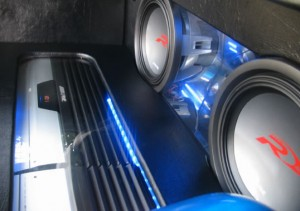 "Mitsubishi Magna Custom Boot Install - Custom boot installation, 2 Alpine 12"" Type-R Subwoofers 2 Alpine V12 Amplifiers with a black vinyl finish & Clear perspex covers."