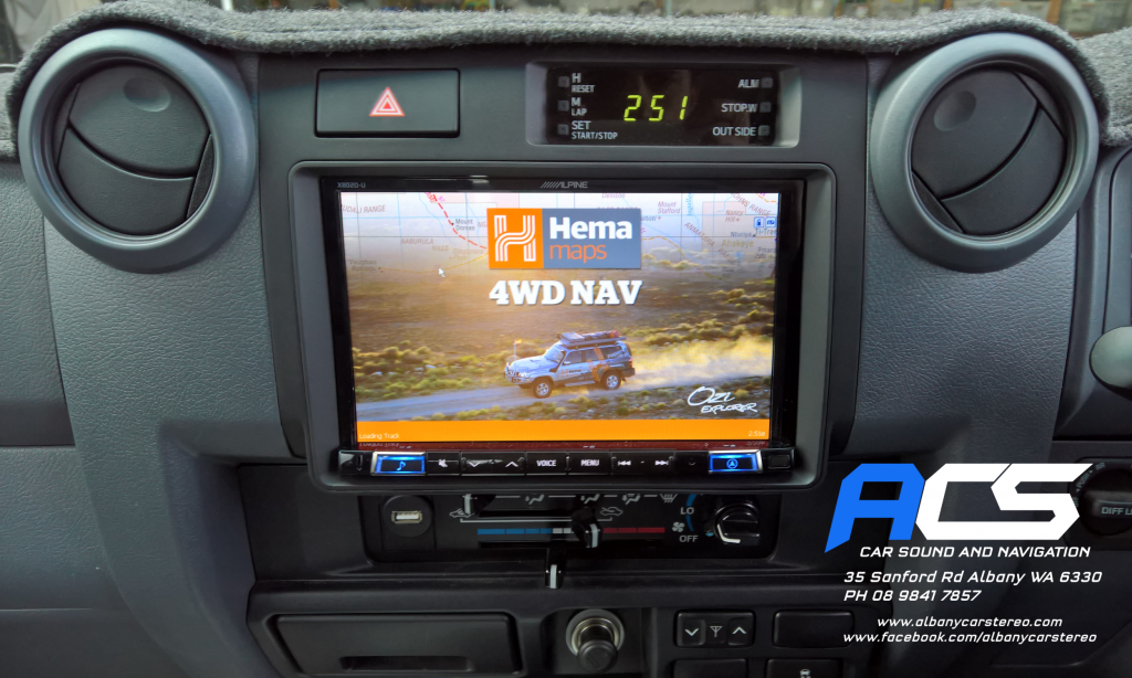 "Toyota Landcruiser 70 Series - Alpine 8"" With Hema Maps"